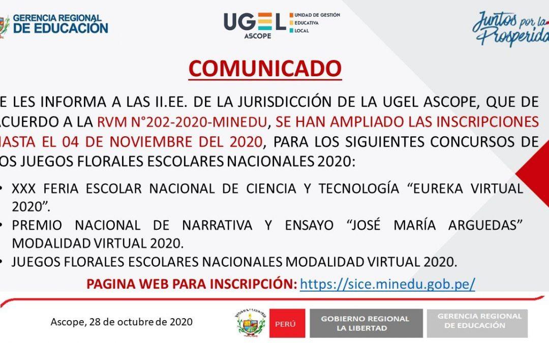 JUEGOS FLORALES ESCOLARES NACIONALES 2020
